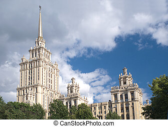 Stalinist Residential building with spire in Moscow Russia...