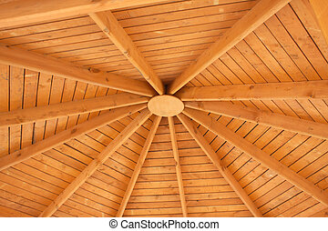 Under wooden roof - Under brown wooden roof inside closeup