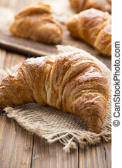 Croissant - Freshly baked butter croissant Studio photo