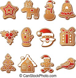 Gingerbread christmas cookies set icons symbols deesert