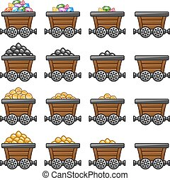Mine cart set gold sone coins diamonds - Mine tub cart set...