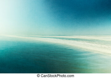 Textured Abstract Seascape - An ocean seascape with blurred...
