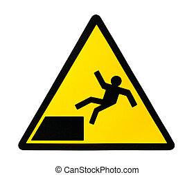 Sign warning for risk of falling - Yellow triangular sign...