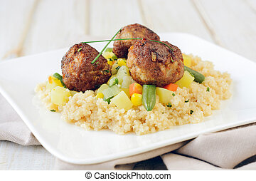 Couscous and meat - Meat balls with couscous and...