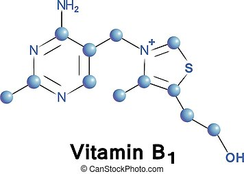 Vitamin b1 chemical formula, molecule structure, medical...