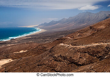 Playa de Cofete, Fuerteventura - A view to Playa de Cofete,...