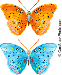 Two butterflies - Two various colored vector flying...