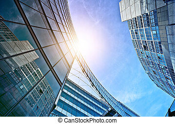 modern office towers - modern glass and steel office...