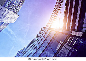 modern office buildings - modern glass and steel office...