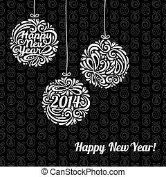 minimalistic, saludo, nuevo, año,  2014, estilo, tarjeta, feliz