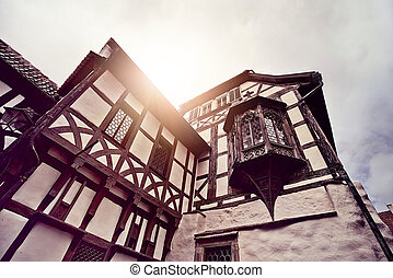 half timbered house - historic half timbered house in...