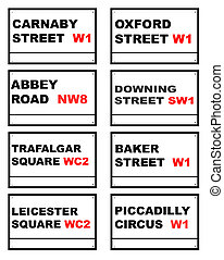 Famous London road signs - Set of eight famous London road...