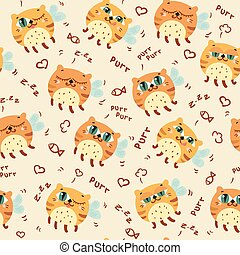 Pattern with cute abstract flying cats