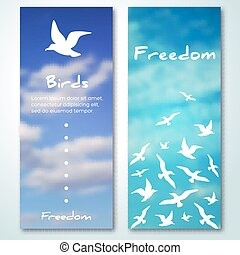 Banners with flying birds silhouettes.