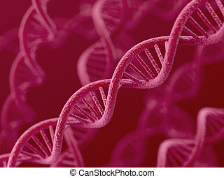 DNA on red background - 3d render of DNA on red background