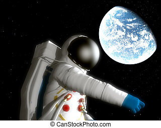 Spaceman With Alien Planet - A spaceman floating next to an...