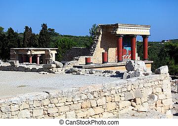 crete, ruínas,  Knossos,  Heraklion, Palácio
