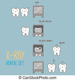 Comics about dental X-ray. Vector illustration for children...