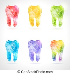 Polygonal vector set of teeth. - Rainbow tooth. Abstract...
