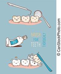 Comics about dental diagnostics and treatment. Vector...