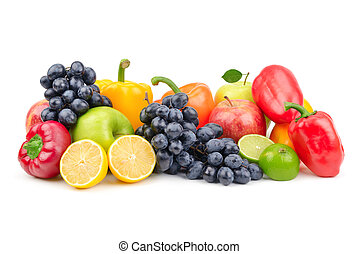 Composition of fruits and vegetables isolated on white...