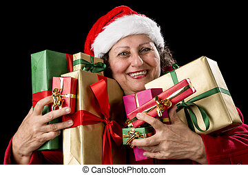 Joyful Senior Woman Hugging Eight Wrapped Gifts - Smiling...