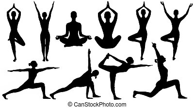 Yoga Poses Woman Silhouette Isolated Over White Background,...