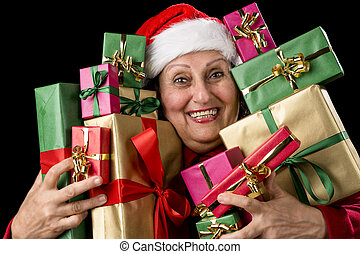 Delighted Old Lady Hugging a Dozen Wrapped Gifts - Joyful...