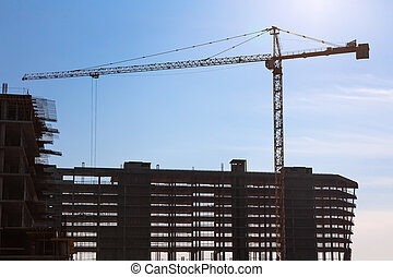 Building crane on construction - Construction crane on...