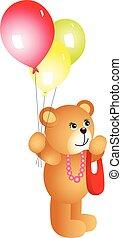 Girl teddy bear with balloons