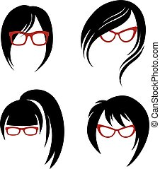 hair styling for woman - Vector set of trendy hair styling...