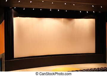 Cinema movie theater with curtains