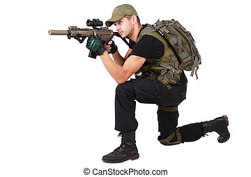 mercenary with m4 rifle isolated on white