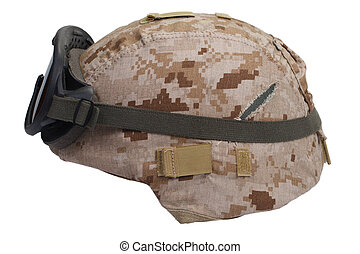 us marines kevlar helmet with desert camouflage cover and...