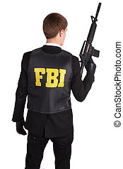 FBI Agent with rifle isolated on white