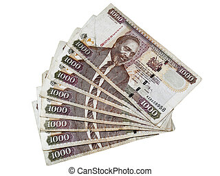 kenyan currency - an arrangement of kenyan shilling notes