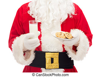 close up of santa claus with milk and cookies - christmas,...