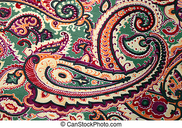 tradicional, paisley, Padrão, seda, fundo