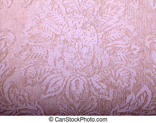 Vintage beige wallpaper with shabby victorian pattern
