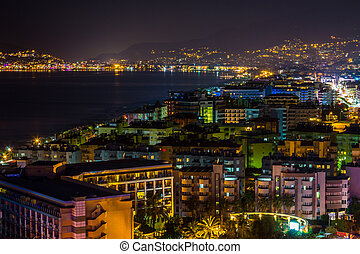 Turkish coast at night - Turkey, Alanya at night. Beautiful...