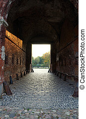 Old brick wall gate at Petrovaradin fortress, Novi Sad