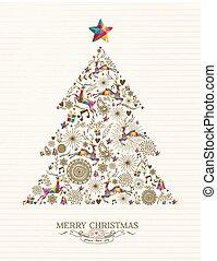 Vintage Christmas tree greeting card
