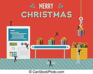 Christmas gift creative factory illustration card - Santa...