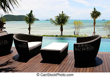Tropical living - View of the ocean from a tropical resort...