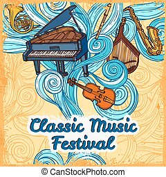 Music festival poster - Classic music festival poster with...