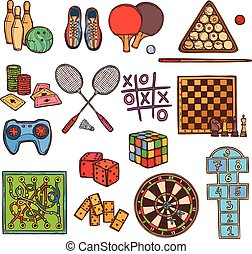 Game sketch icons - Sport and gambling games sketch colored...