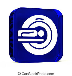 MRI PET Imaging - Glass button icon with white health care...