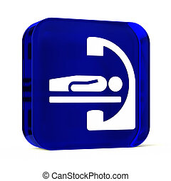 Cath Lab - Glass button icon with white health care sign or...
