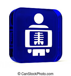 Radiology - Glass button icon with white health care sign or...