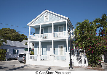 Blue house in Key West, Florida, USA